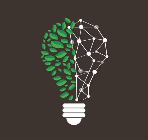 green leafs en vecteur ligne ligne technologie, concept nature eco, journée mondiale de l'environnement