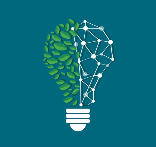 green leafs in light bulb shape and technology line vector , nature eco concept , World Environment Day