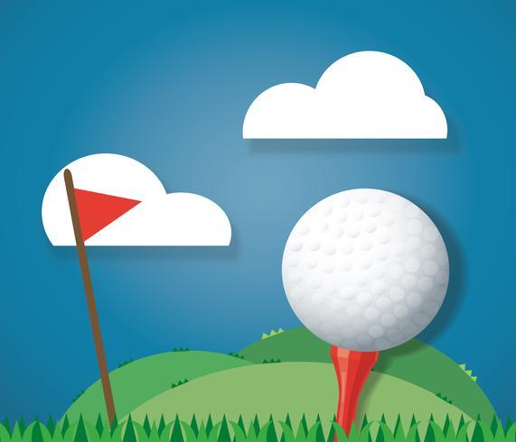 Bola de golfe no chão e vermelho bandeira fundo vector