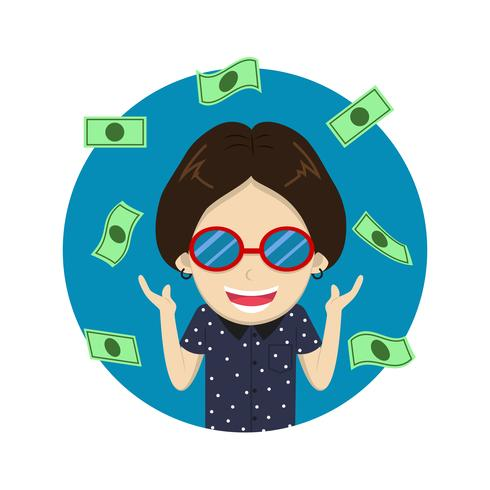 Personaje rico feliz de dibujos animados de carácter con mucho dinero - ilustración vectorial