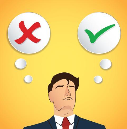 Portrait d'homme d'affaires prendre une décision, vrai ou faux vecteur