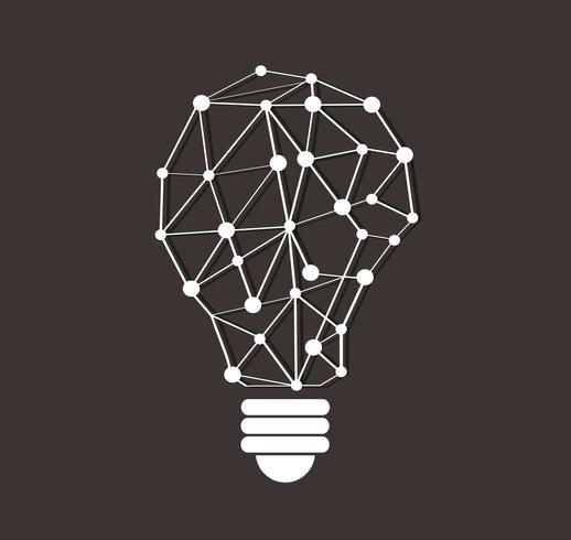 design de polígonos do símbolo de pensamento em forma de lâmpada, conceito eco, dia mundial do ambiente
