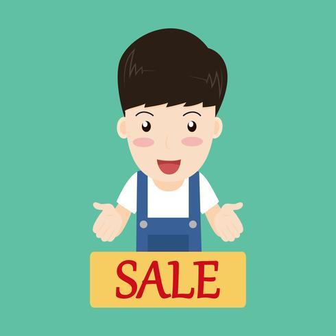 De gelukkige presentatie van karakterverkopers met verkoopteken - Vectorillustratie