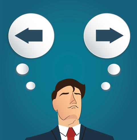 Hombre de negocios intenta tomar la decisión, vector izquierdo o derecho