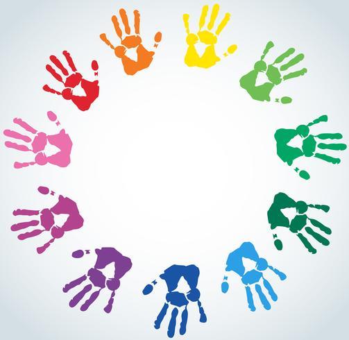 Abstracte achtergrond met kleurrijke handafdrukken
