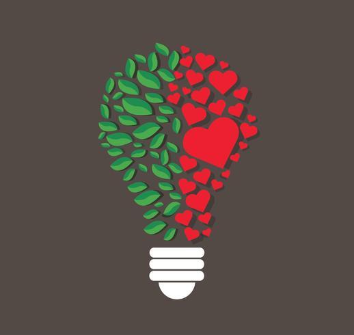 gröna blad och hjärtan i glödlampform, eko-koncept, tänkningssymbol, världsmiljödagen