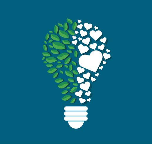 groene bladeren en harten in de vorm van een gloeilamp, eco-concept, denken symbool, Wereld Milieu Dag