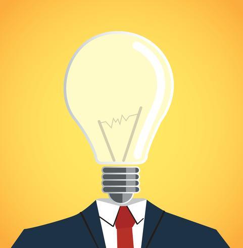 Businessman with light bulb head vector
