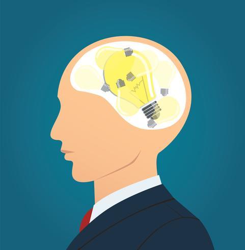 Uomo d'affari che pensa con l'icona della lampadina. concetto di pensiero