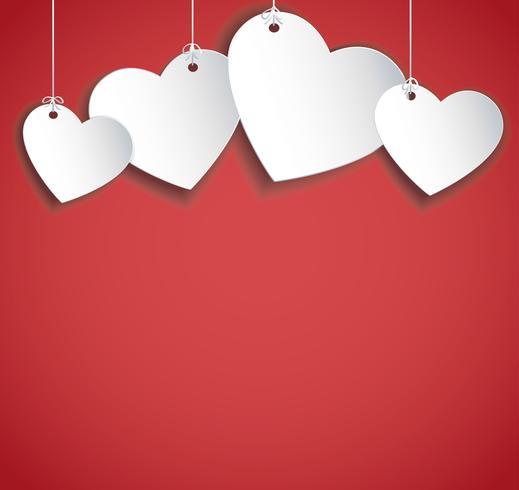 hang hearts illustration. Valentine`s day background.