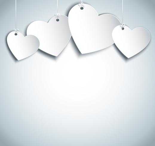 hang hearts illustration. Valentine`s day background. vector