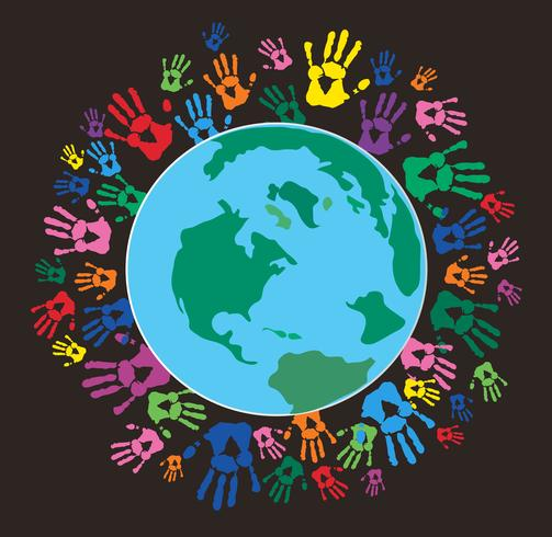 Colorful Hand prints around the earth  vector