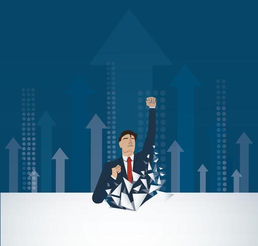 Affärsman Bryta väggen. Affärsidé illustration. Nå målet. Tillväxt till framgång. vektor