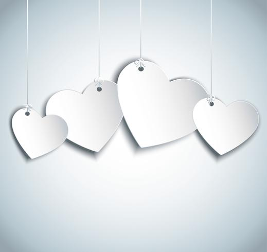 hang hearts illustration. Valentine`s day background vector