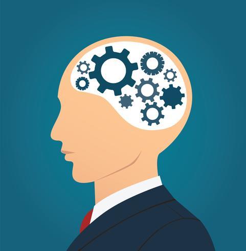 Icono de empresario y engranajes en cabeza