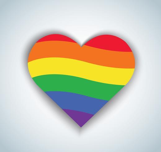 drapeau arc en ciel en icône de forme de coeur. Fond de la Saint-Valentin