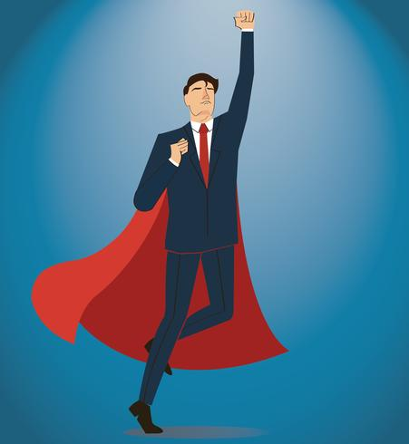 Successful businessman and red cape