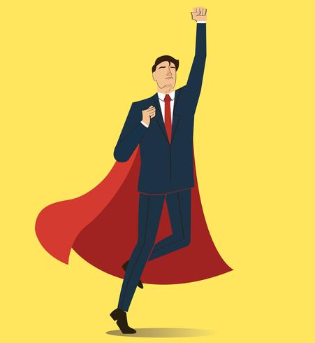 Successful businessman and red cape vector - Download Free