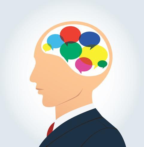 Homem negócios, com, coloridos, conversa, caixa, ícone, em, cabeça