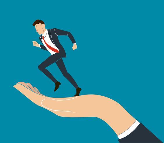 mano sosteniendo vector empresario corriendo