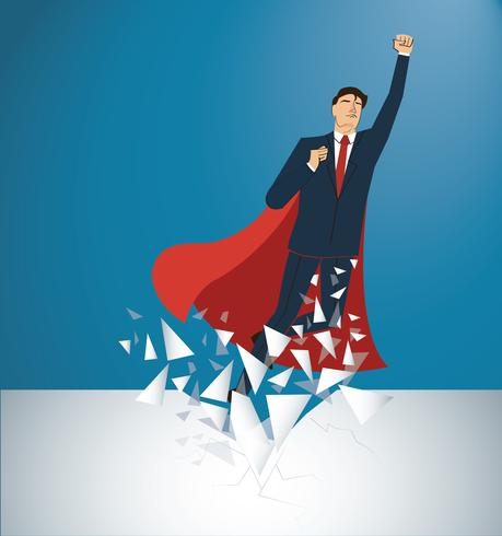Successful businessman and red cape Breaking the wall vector. Business concept illustration