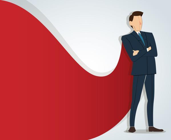 Hombre de negocios acertado que se coloca con los brazos cruzados y el fondo rojo del cabo