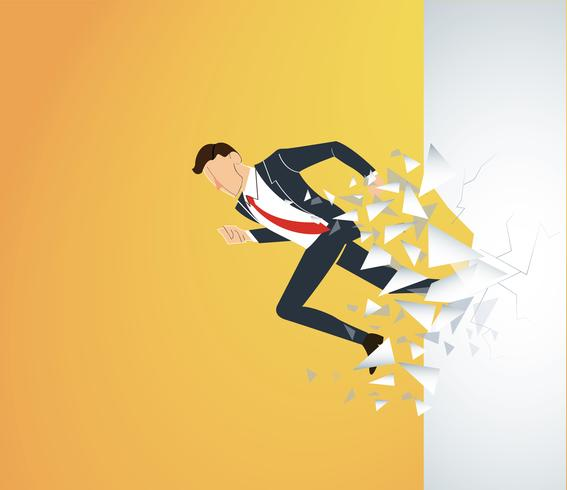 Running Businessman Breaking the wall to success. Business concept illustration.   vector