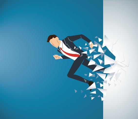Executando o empresário Quebrando a parede para o sucesso. Ilustração do conceito de negócio vetor