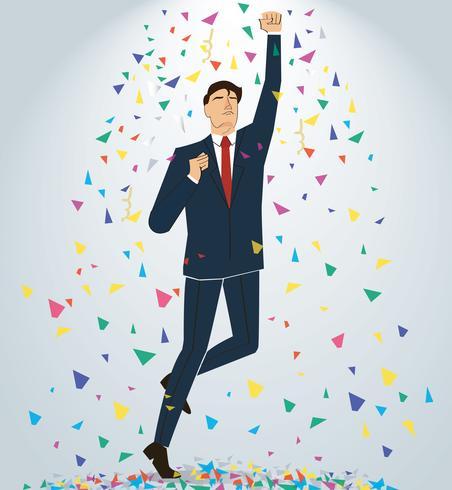 uomo d'affari che celebra un successo. Illustrazione del concetto di business vettore