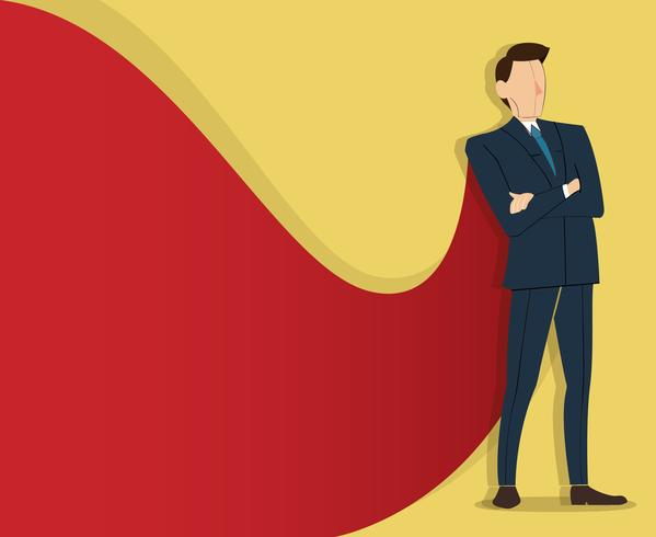 Successful businessman standing with crossed arms and red cape background vector