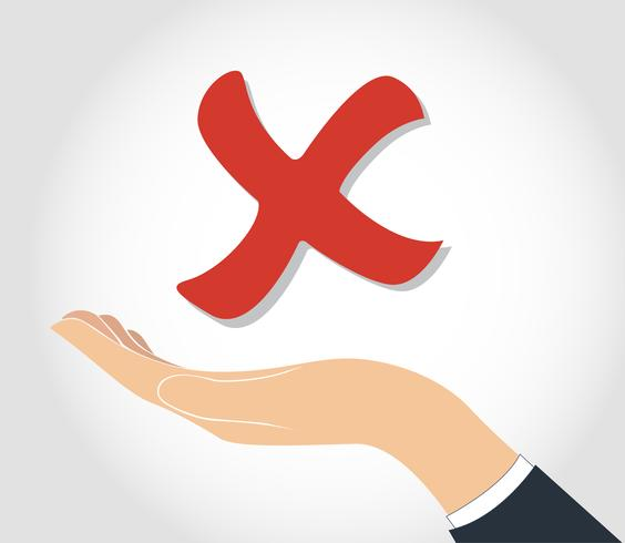 hand holding false check icon symbol  vector