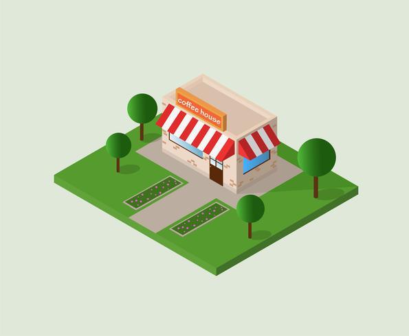 vectorillustratie van isometrische gebouw koffie winkel geïsoleerd op een witte achtergrond