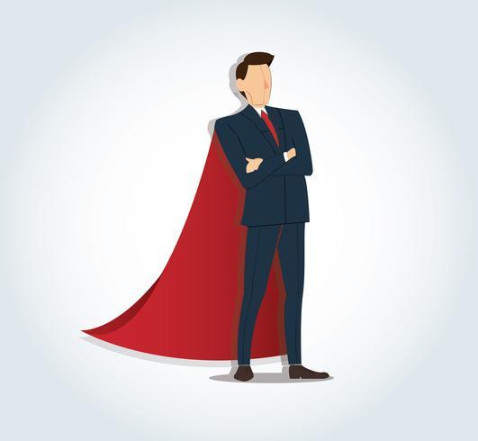 Empresário bem sucedido em pé com os braços cruzados e fundo de capa vermelha