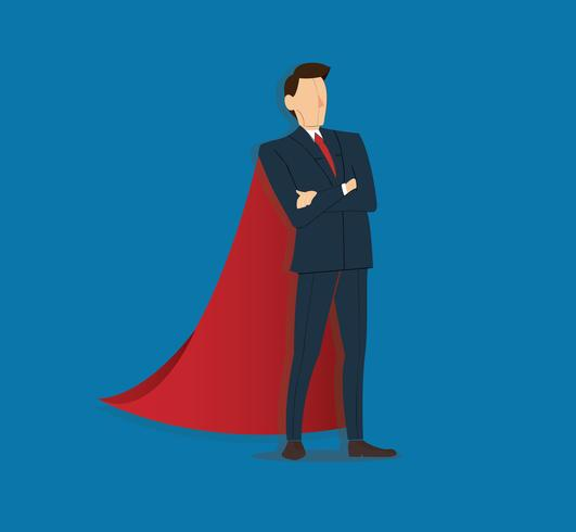 Successful businessman standing with crossed arms and red cape background