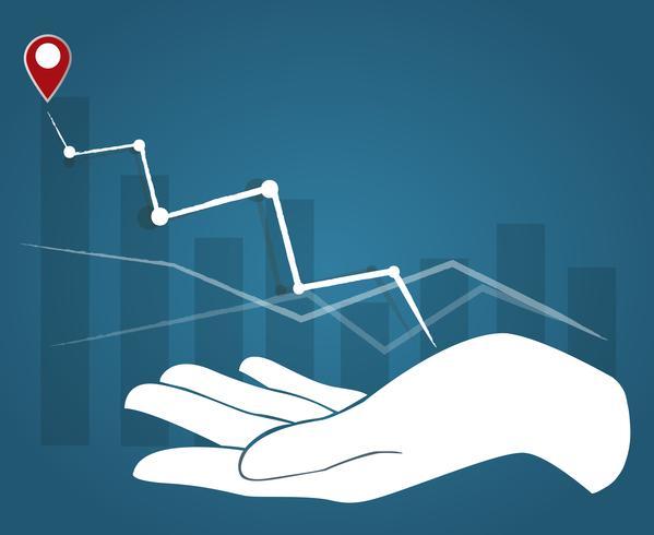 grande mão segurando o gráfico alto, fundo do conceito de negócio