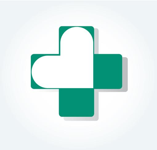 heart in hospital icon design , heart in medical symbol