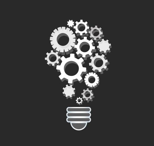 engrenagens em forma de lâmpada, conceito abstratas engrenagens de pensamento