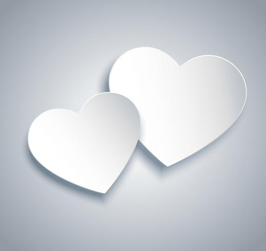 two hearts icon vector. Valentine`s day background vector