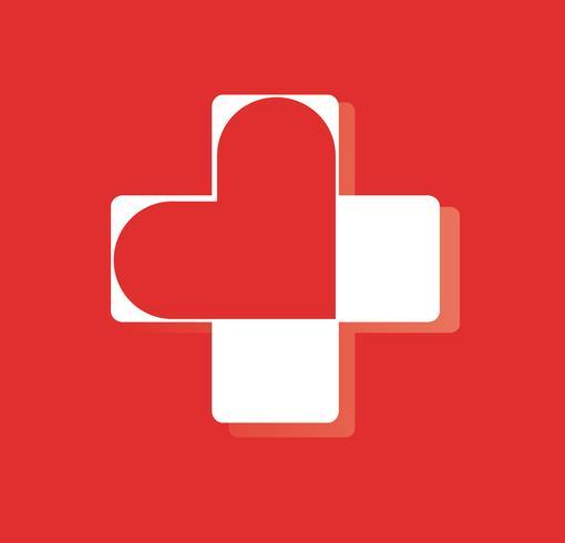hjärta i sjukhus ikon design, hjärta i medicinsk symbol