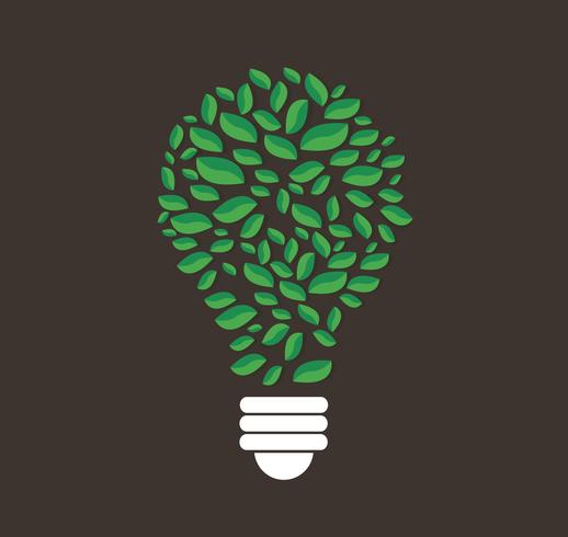 green leafs in light bulb shape vector , nature concept , World Environment Day