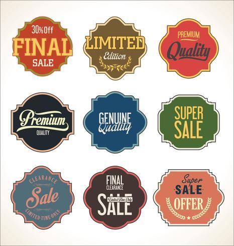 Colección de pegatinas y etiquetas de insignias modernas.