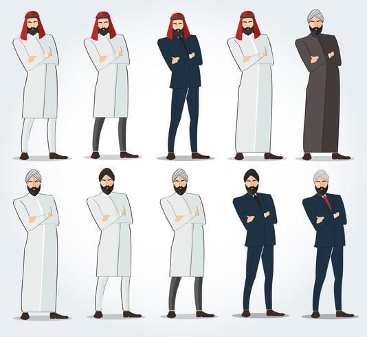 Arabische Männer, die mit gekreuztem Armvektor, arabische Leuteikone stehen