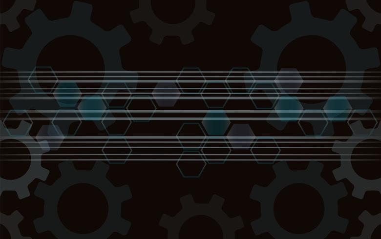 Engrenagens abstratas e fundo do hexágono