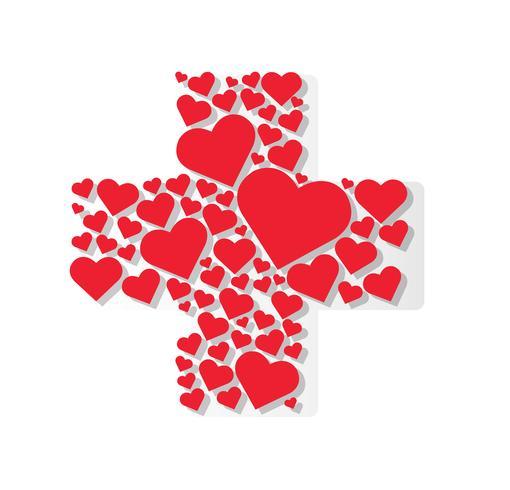 Corazones en vector de icono de hospital de forma médica Cruz