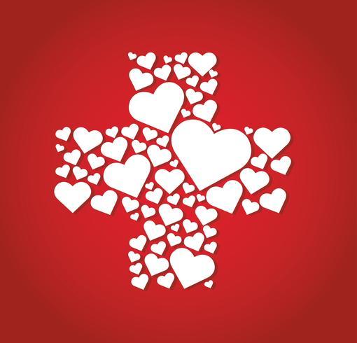 corações em ícone de hospital de forma médica Cruz