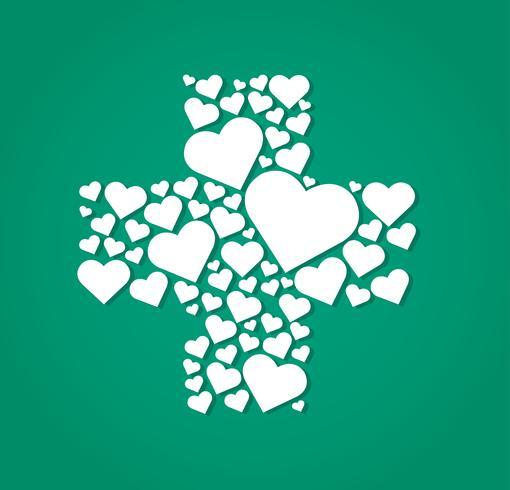 hearts in cross medical shape hospital icon  vector