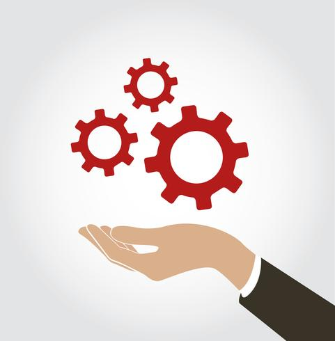 hand holding gear icon vector