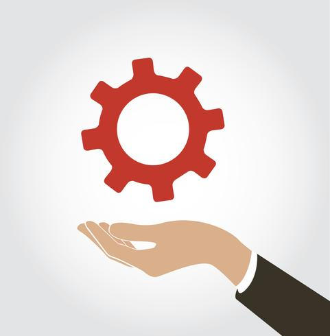 hand met gear pictogram vector