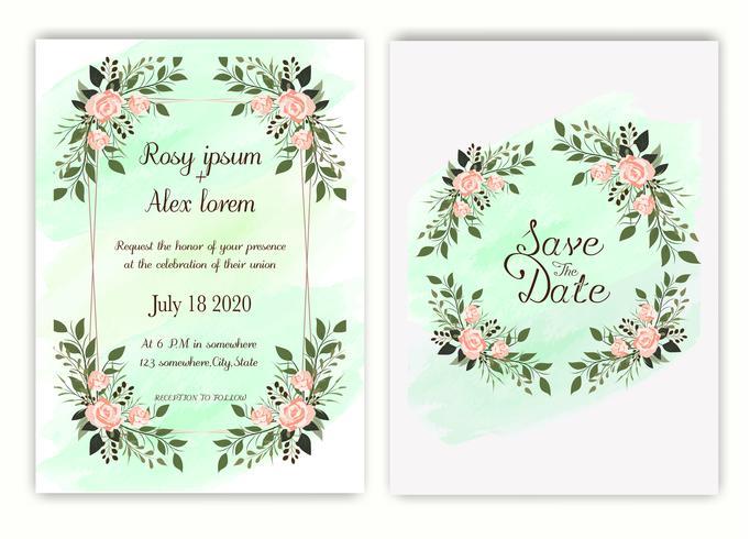 Invitación de boda, invitación, guardar el diseño de la tarjeta de fecha con elegante anémona de jardín de lavanda. vector