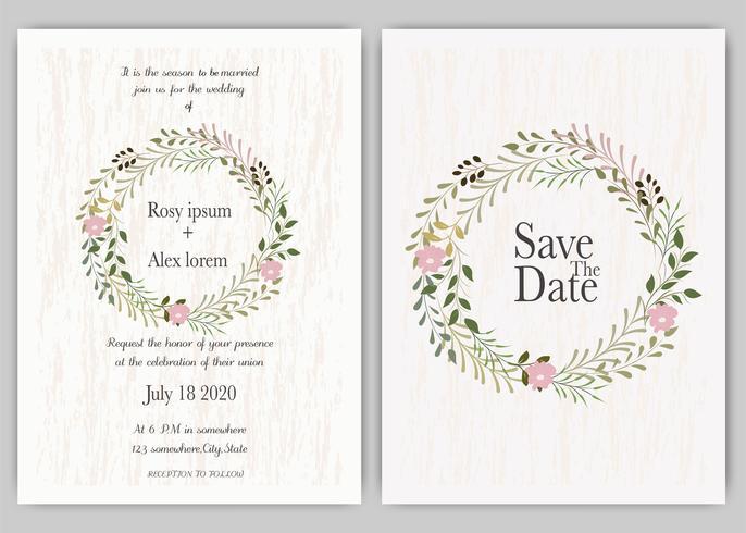 Invito a nozze, invito, salva il design della carta data con elegante anemone color lavanda. vettore